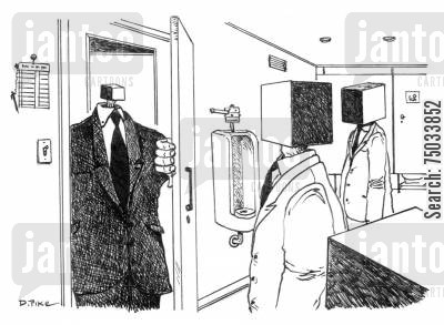 inferiority complex cartoon humor: Blok enters the restroom.