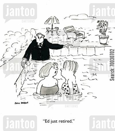 business suit cartoon humor: 'Ed just retired.'