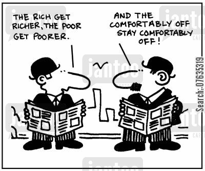 social divides cartoon humor: The rich get richer, the poor get poorer.