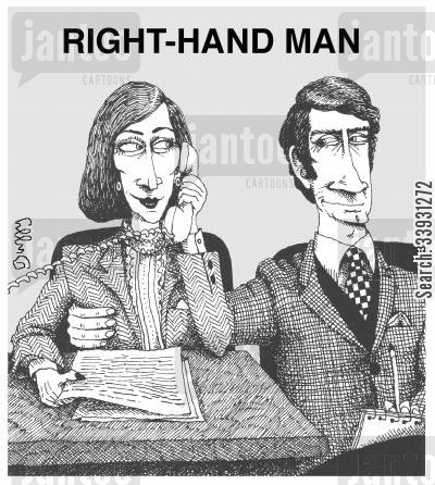 right hand man cartoon humor: Right hand man.