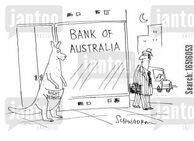 night deposits cartoon humor: Bank of Australia.