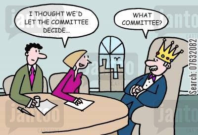 bosses cartoon humor: I thought we'd let the committee decide... What committee?