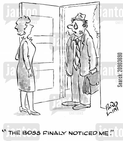 knocked about cartoon humor: 'The boss finally noticed me.'