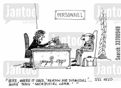scape goat cartoon humor: 'Here, where it says reason for dismissal, I'll need more than sacrificial lamb.'