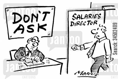 salary directors cartoon humor: Salary Director with Notice on Wall - Don�t Ask