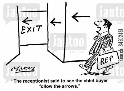 mislead cartoon humor: The reception said to see chief buyer to follow the arrows.