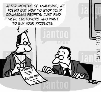 analysed cartoon humor: 'After months of analysing, we found out how to stop your downgoing profits: just find more customers who want to buy your products.'