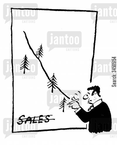 cover-ups cartoon humor: Salesman Drawing on Sales Chart