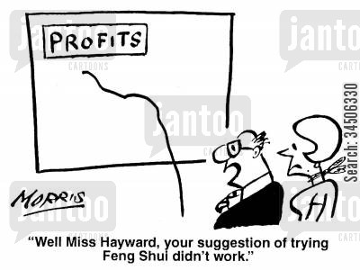 sales chart cartoon humor: 'Well Miss Hayward, your suggestion of trying Feng Shui didn't work.'