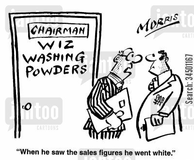 sales figure cartoon humor: When he saw the sales figures he went white.