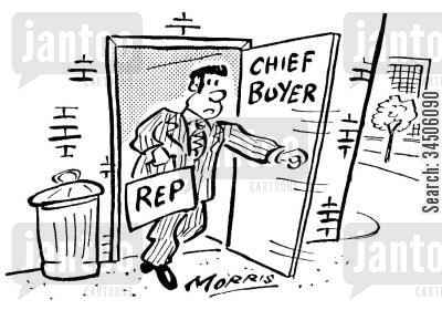chief buyers cartoon humor: Sales rep being sent through a back door.