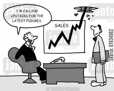 sales teams cartoon humor: I'm calling upstairs for the latest figures.