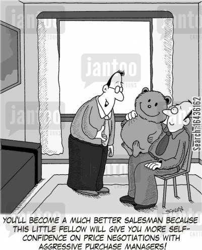 purchase manager cartoon humor: 'You'll become a much better salesman because this little fellow will give you more self-confidence on price negotiations with aggressive purchase managers!'