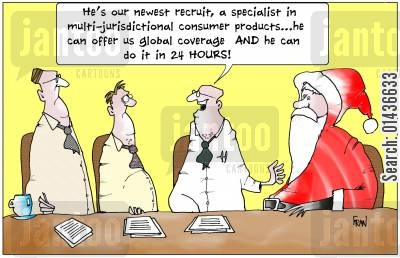 global coverage cartoon humor: 'He's our newest recruit, a specialist in multi-jurisdictional consumer products..'