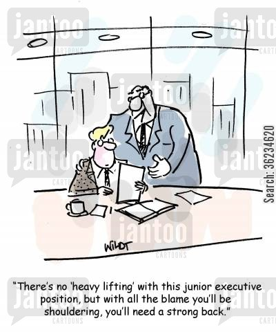 scape goats cartoon humor: There's no heavy lifting with this junior executive position, but with all the blame you'll be shouldering, you'll need a strong back.