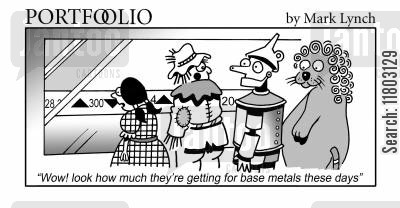 scarecrows cartoon humor: 'Wow! look how much they're getting for base metals these days.'