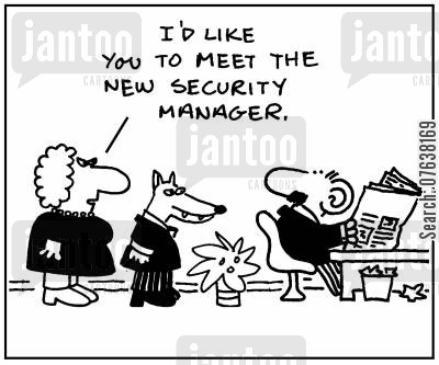 corporate espionage cartoon humor: 'I'd like you to meet the new security manager.'