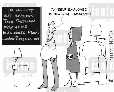 self employed cartoon humor: I'm self employed being self employed