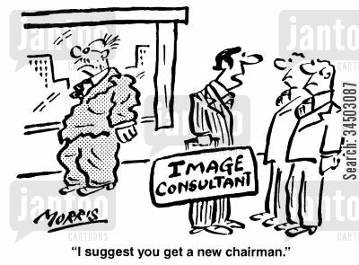 image consultant cartoon humor: I suggest you get a new chairman.