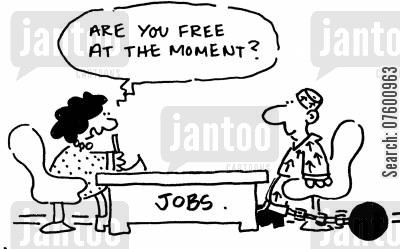 hand cuffed cartoon humor: 'Are you free at the moment?'