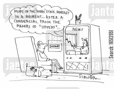downers cartoon humor: 'More on the 'Down' Stock market in a moment, after a commercial from the makers of uppers...'