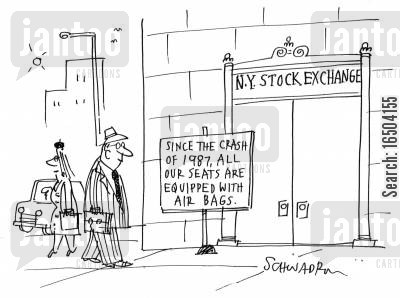 new york stock exchange cartoon humor: NYSE - Since the crash of 1987, all seats are equipped with air bags.