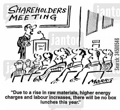 shareholders meetings cartoon humor: No box lunches