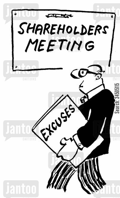 shareholding cartoon humor: Book of Excuses for Shareholders Meeting