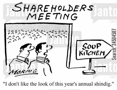 soup kitchens cartoon humor: Shareholders Meeting - I don't like the look of this year's annual shindig.