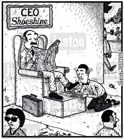 shoeshine cartoon humor: CEO Shoeshine.