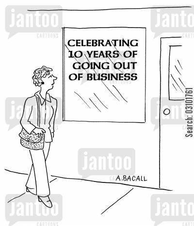 celebrator cartoon humor: Celebrating ten years of going out of business.