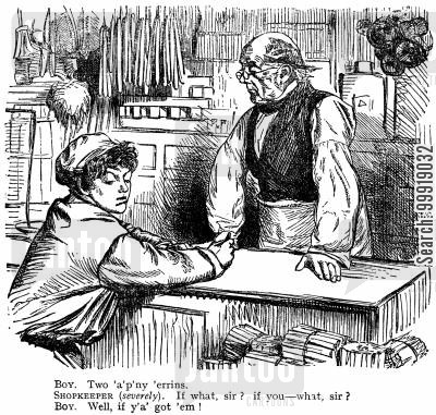 shop clerk cartoon humor: Victorian Shop