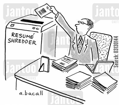 shredders cartoon humor: Shred job applications.