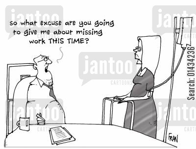hr department cartoon humor: So what excuse are you going to give me about missing work THIS TIME?