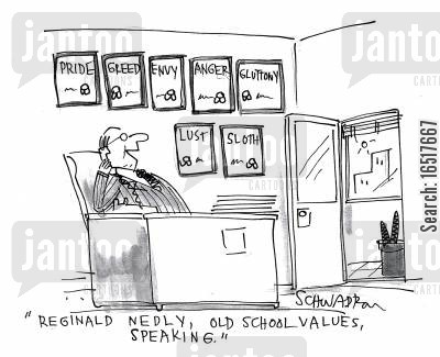 old skool cartoon humor: 'Reginald Nedly, old school values, speaking.'