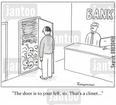 secrecy cartoon humor: 'The door is to your left, sir. That's a closet...'