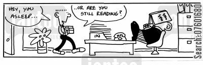 perused cartoon humor: 'Hey, you asleep...Or are you still reading?'
