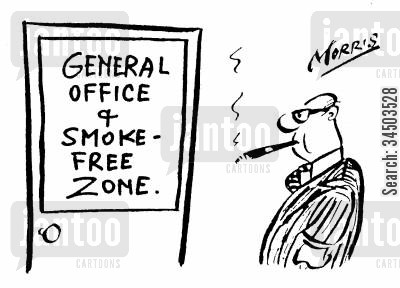 contravention cartoon humor: General Office & Smoke Free Zone