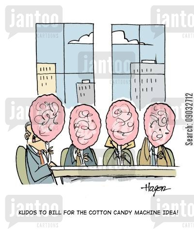 candyfloss cartoon humor: 'Kudos to Bill for the cotton candy machine idea!'