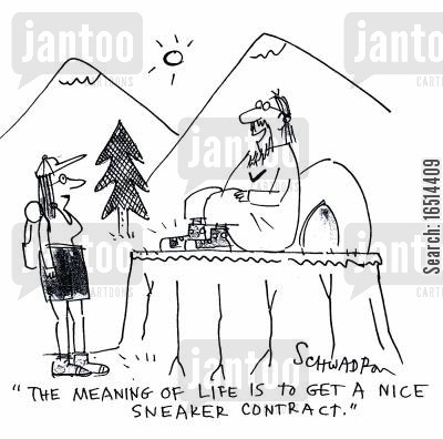 spiritual gurus cartoon humor: 'The meaning of life is to get a nice sneaker contract.'