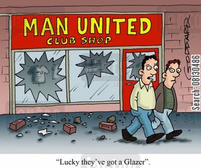 manchester utd cartoon humor: 'Lucky they've got a glazer'.