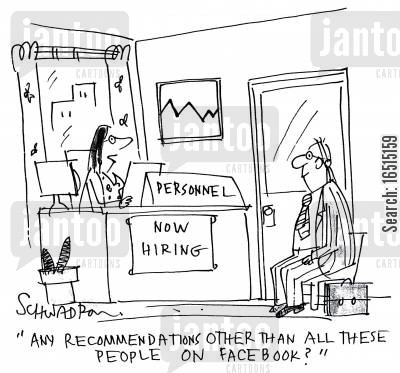 personnel files cartoon humor: 'Any recommendations other than all these people on facebook?'
