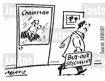 buy out cartoon humor: Buy- out specialist