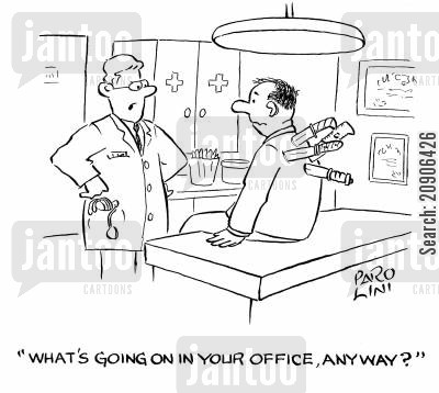 backstabbing cartoon humor: 'What's going on in your office, anyway?'