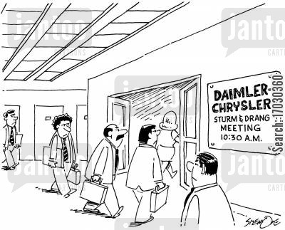conference room cartoon humor: Daimler, ChryslerSturm and Drang meeting