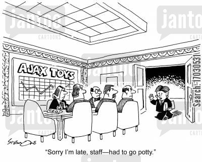 potties cartoon humor: 'Sorry I'm late, staff
