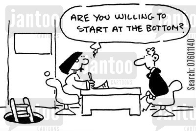 start at the bottom cartoon humor: 'Are you willing to start at the bottom?'