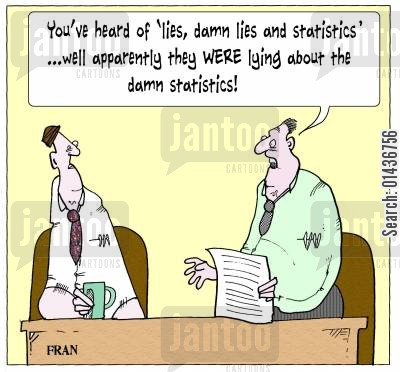statisticians cartoon humor: 'You've heard of 'lies, damn lies and statistics'...well apparently they were lying about the damn statistics!'