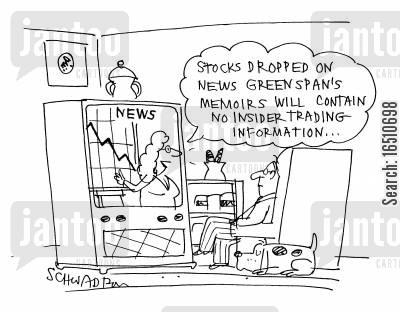 economist cartoon humor: 'Stocks dropped on news Greenspan's memoirs will contain no insider trading information...'