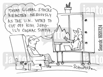 cognac cartoon humor: 'Today global stocks reacted nervously as the U.N. voted to cut of Kim Jong Il's cognac supply.'